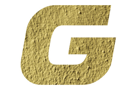 Letter G alphabet  with yellow wall textured on white background