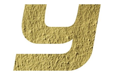Letter Y alphabet  with yellow wall textured on white background
