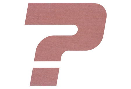 Question Mark with terracotta colored fabric texture on white background