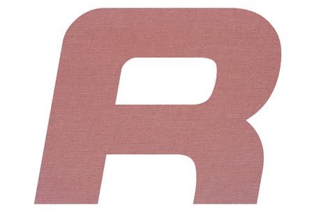 Letter R with terracotta colored fabric texture on white background 写真素材