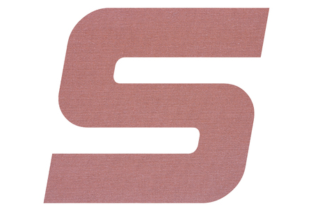 Letter S with terracotta colored fabric texture on white background 写真素材