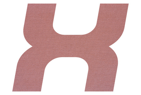 Letter X with terracotta colored fabric texture on white background