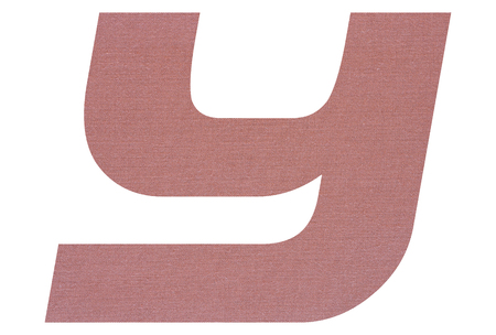 Letter Y with terracotta colored fabric texture on white background