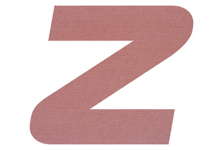 Letter Z with terracotta colored fabric texture on white background
