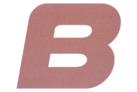 Letter B with terracotta colored fabric texture on white background 写真素材 - 123412529