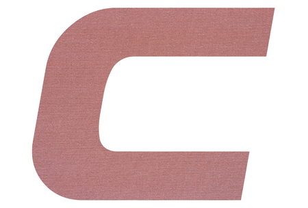Letter C with terracotta colored fabric texture on white background