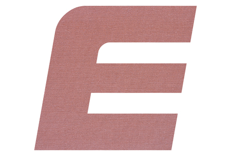 Letter E with terracotta colored fabric texture on white background 写真素材