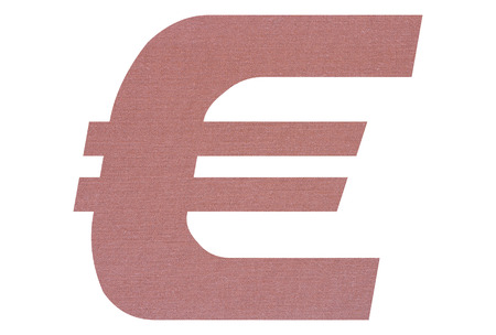 Euro sign with terracotta colored fabric texture on white background