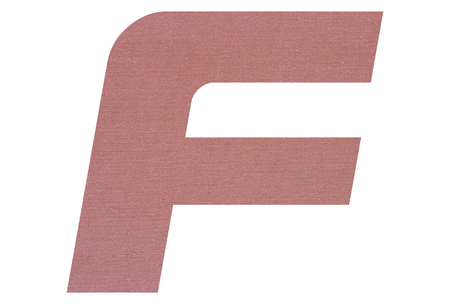 Letter F with terracotta colored fabric texture on white background Stockfoto