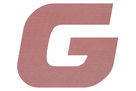 Letter G with terracotta colored fabric texture on white background