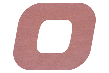 Letter O with terracotta colored fabric texture on white background
