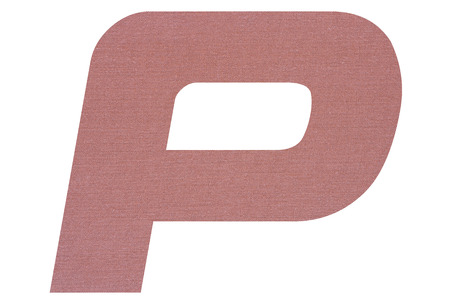Letter P with terracotta colored fabric texture on white background 写真素材