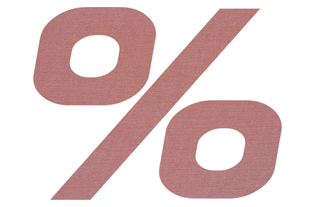 Percent sign with terracotta colored fabric texture on white background 写真素材