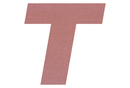 Letter T with terracotta colored fabric texture on white background 写真素材
