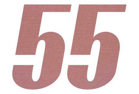 Number 55 with terracotta colored fabric texture on white background