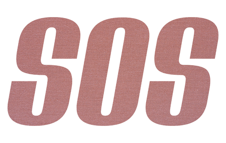 SOS word with terracotta colored fabric texture on white background