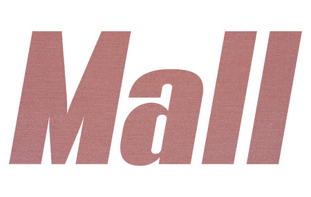 Mall word with terracotta colored fabric texture on white background