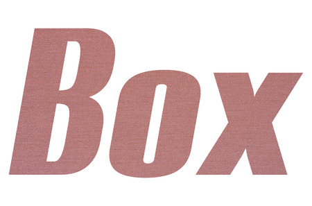 Box word with terracotta colored fabric texture on white background