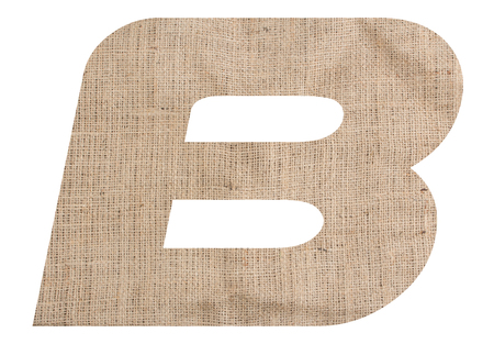 Letter B alphabet with burlap texture on white background