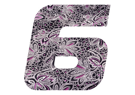 Number 6 with floral fabric texture on white background 写真素材