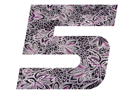 Number 5 with floral fabric texture on white background