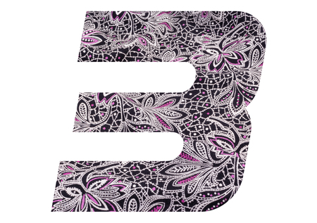 Number 3 with floral fabric texture on white background 写真素材