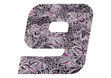 Number 9 with floral fabric texture on white background 写真素材