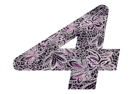 Number 4 with floral fabric texture on white background