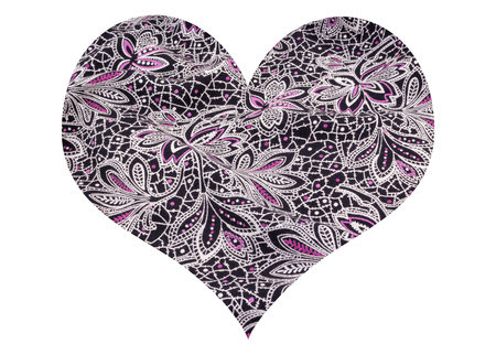 Heart shape with floral fabric texture on white background