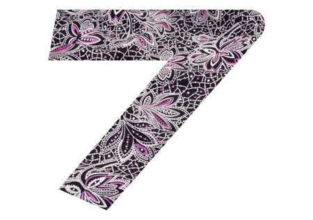Number 7 with floral fabric texture on white background