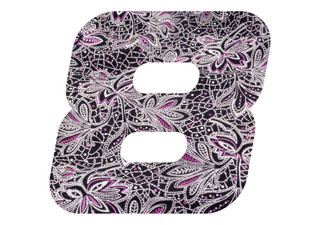 Number 8 with floral fabric texture on white background Stockfoto