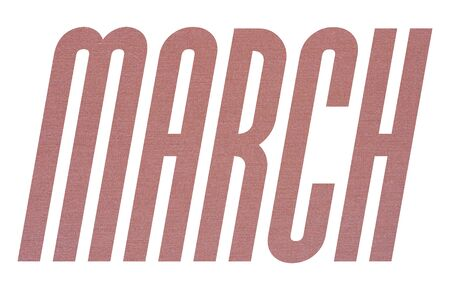MARCH word with terracotta colored fabric texture on white background
