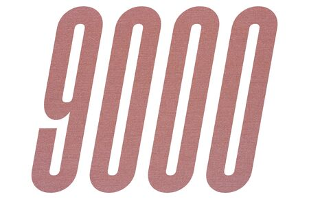 Number 9000 with terracotta colored fabric texture on white background