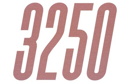Number 3250 with terracotta colored fabric texture on white background