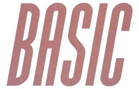 BASIC word with terracotta colored fabric texture on white background