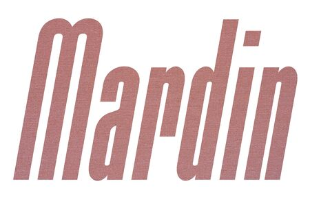 Mardin word with terracotta colored fabric texture on white background