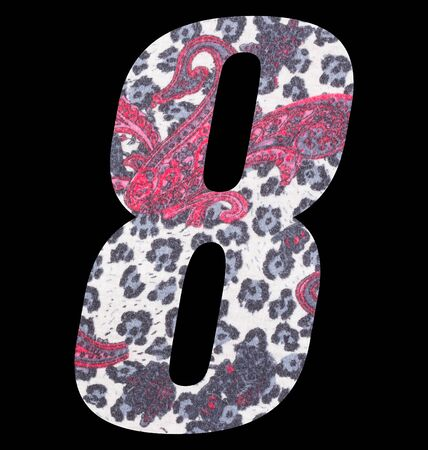 Number 8 with floral fabric texture on black background