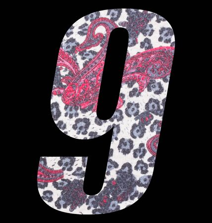 Number 9 with floral fabric texture on black background 写真素材