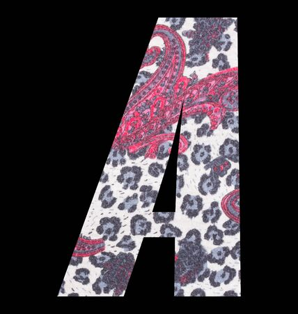 Letter A alphabet with floral fabric texture on black background 写真素材 - 125594418