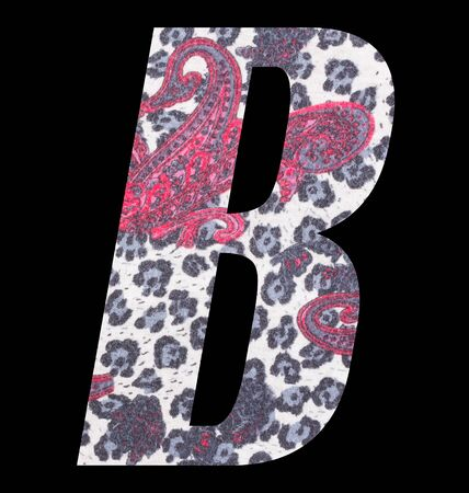Letter B alphabet with floral fabric texture on black background