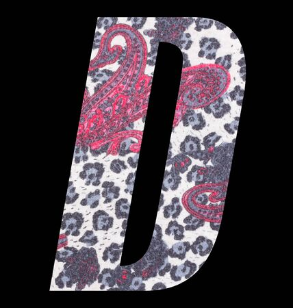 Letter D alphabet with floral fabric texture on black background