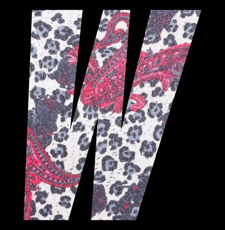 Letter W alphabet with floral fabric texture on black background