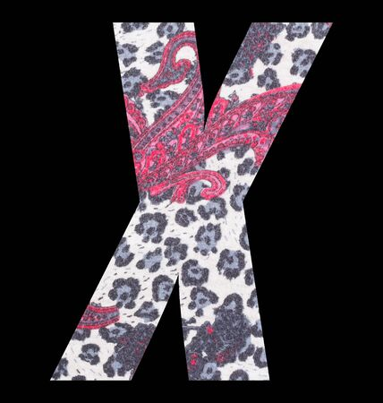 Letter X alphabet with floral fabric texture on black background