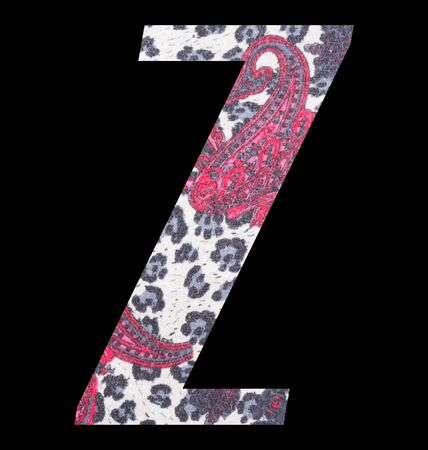 Letter Z alphabet with floral fabric texture on black background