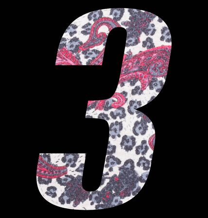 Number 3 with floral fabric texture on black background 写真素材