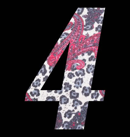 Number 4 with floral fabric texture on black background