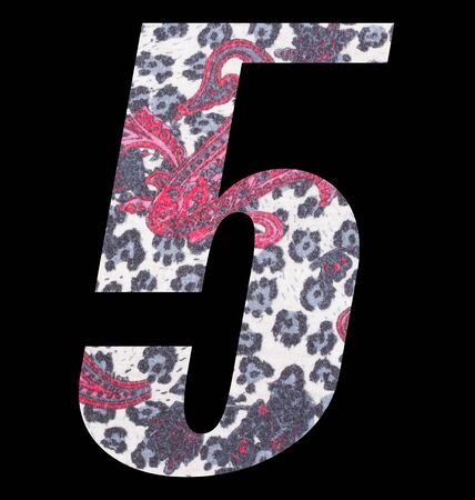 Number 5 with floral fabric texture on black background 写真素材 - 125594435