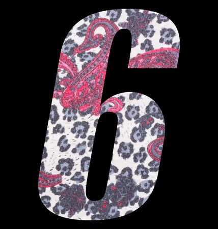 Number 6 with floral fabric texture on black background 写真素材