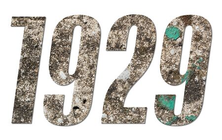 Year 1929 with old concrete wall on white background Stock fotó