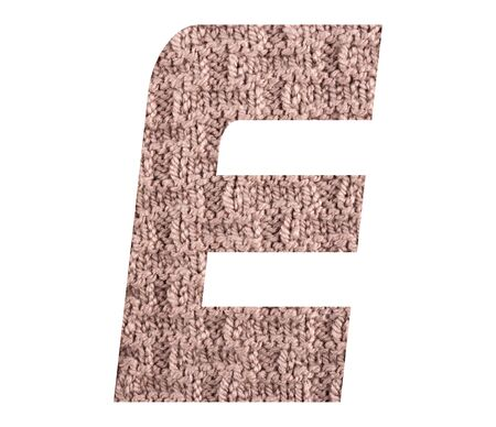 Letter E alphabet with hand knitted back side texture on white background